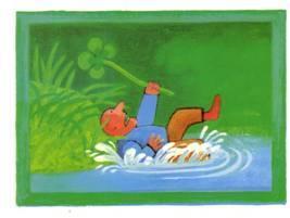 illustratie jongen die in het meer is gevallen