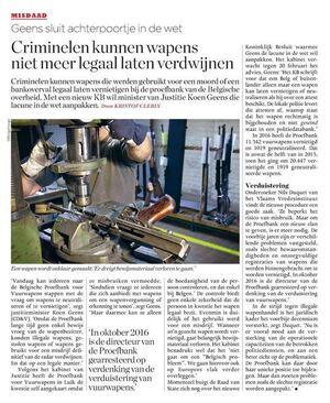 Il n'est plus possible de détruire ou de neutraliser des armes recherchées en Belgique