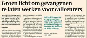 Groen licht om gevangenen te laten werken voor callcenters