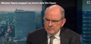 Minister Geens reageert op dood Julie Van Espen
