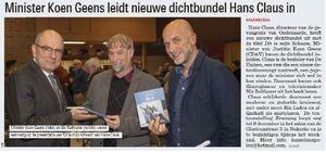 Minister Koen Geens leidt nieuwe dichtbundel Hans Claus in