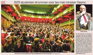 625 studenten drummen voor les met minister Geens