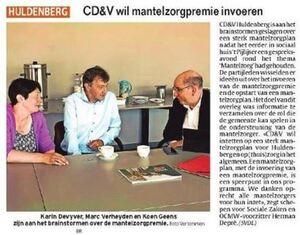 CD&V wil mantelzorgpremie invoeren