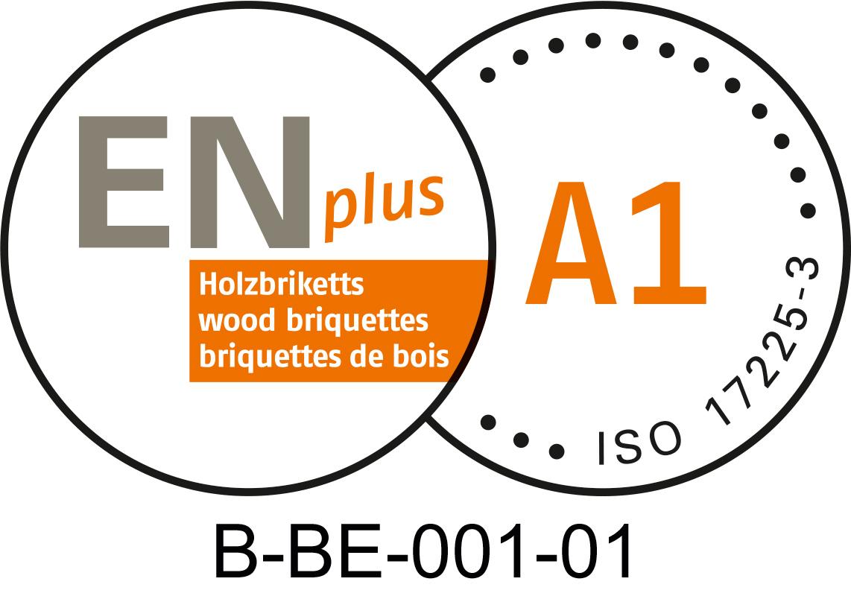 ENplus A1 kwaliteitslabel voor duurzame houtbriketten. BE001 is de code van Ecopower als brikettenproducent.