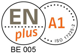 ENplus A1 kwaliteitslabel voor duurzame houtpellets. BE005 is de code van Ecopower als pelletproducent.