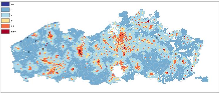 Figuur 2: restwarmtekaart van het VITO brengt de plekken in kaart waar er restwarmte voorhanden is in Vlaanderen.