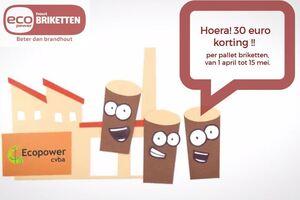 Afbeelding bij Ecopower-briketten: tijdelijk 30 euro korting per pallet!