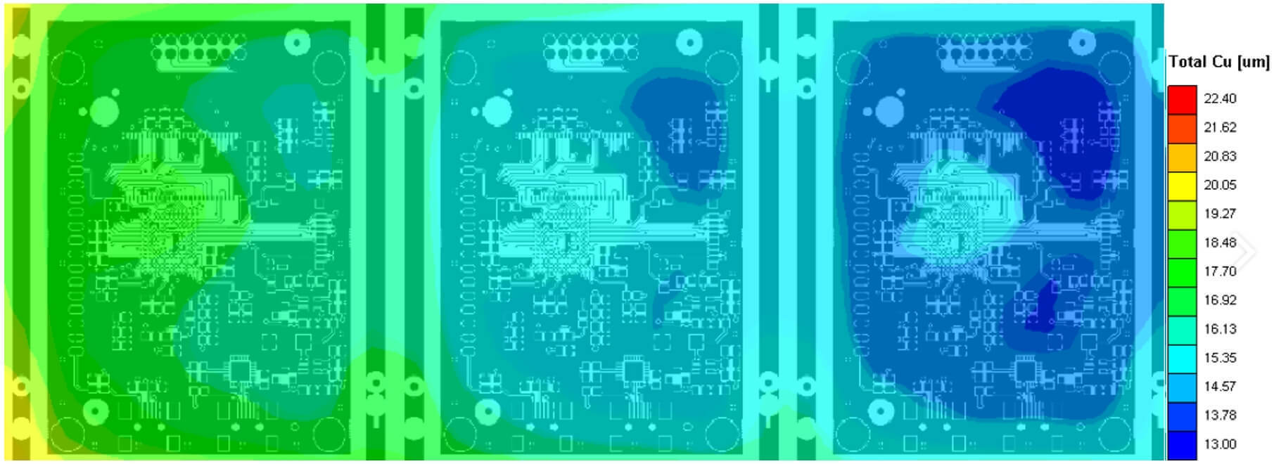 Same board with different layer thickness depending on position panel