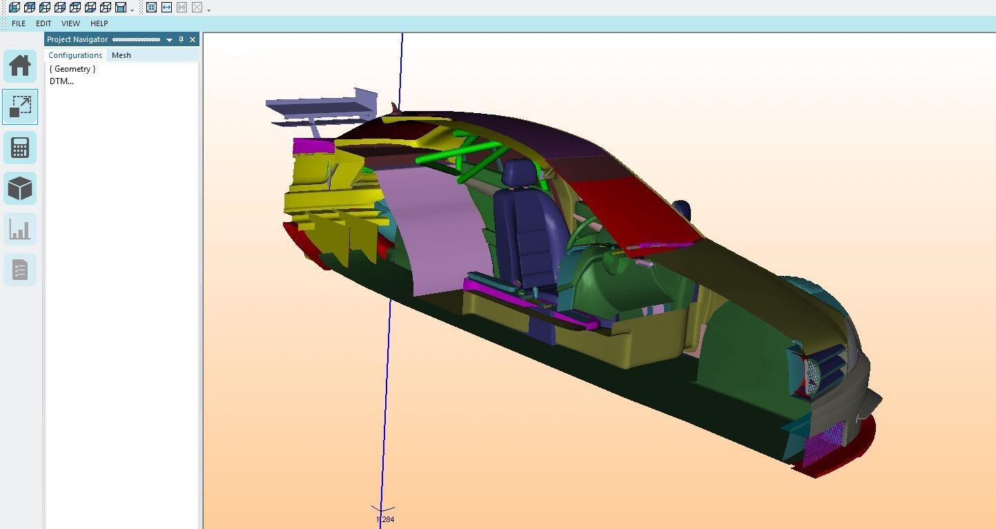 Elsyca MeshingMaster - Car geometry cut view