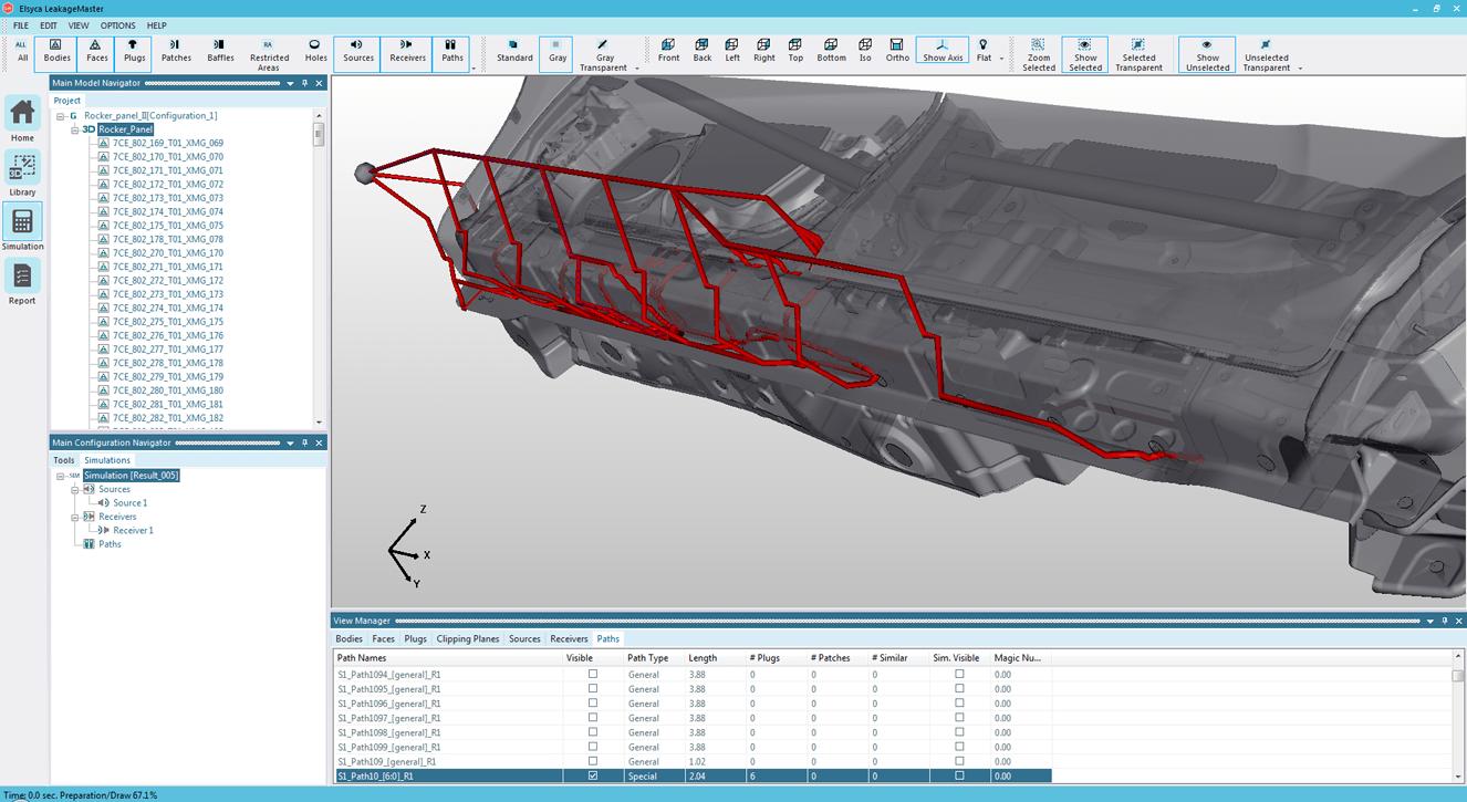 Leakage paths through rocker panel – transparent view