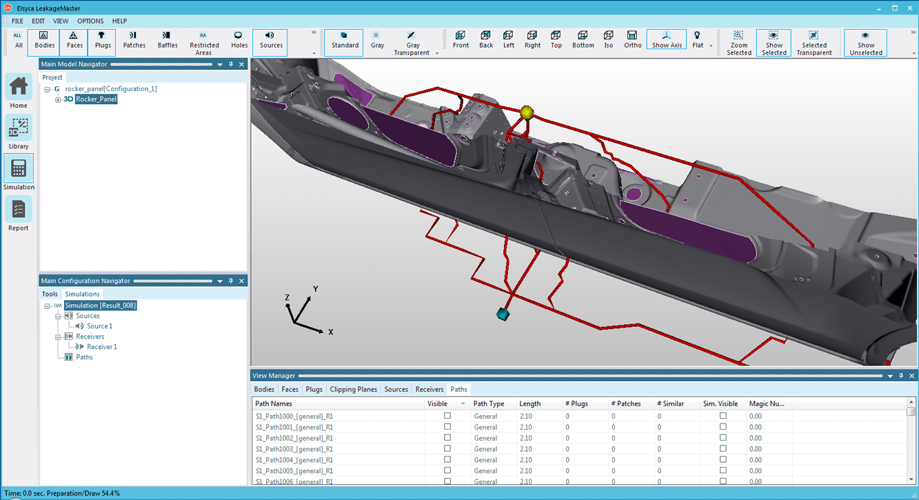 Leakage paths from source to receiver across the rocker panel