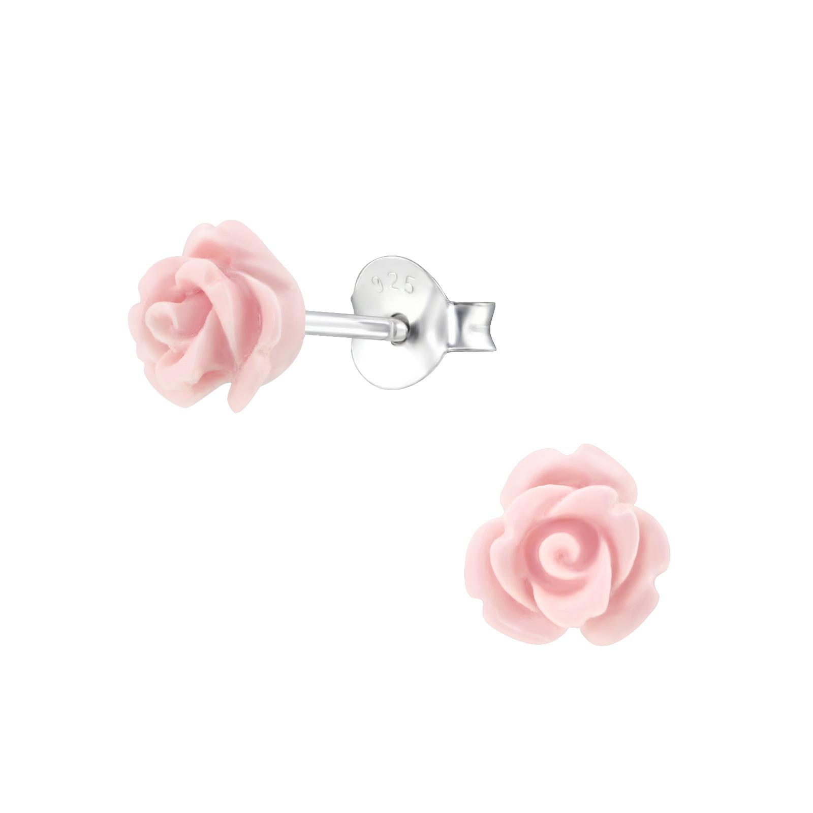 vente officielle le moins cher bonne réputation Boucles d'oreilles enfant fleurs forme rose & argent · Zeido