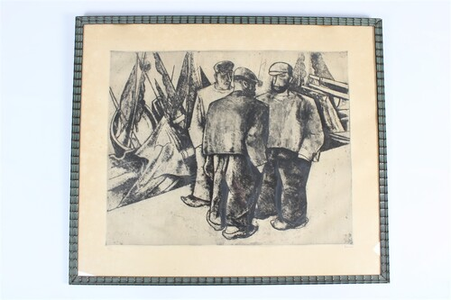 thumbnails bij product fishermen, etching of Thomas Roman