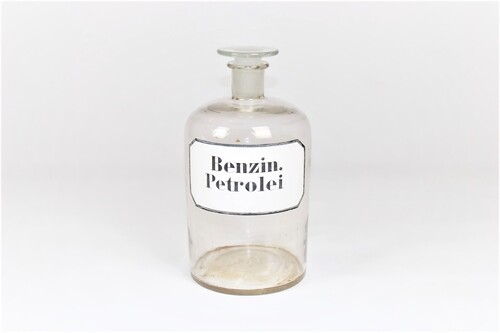 thumbnails bij product large old white pharmacy bottle