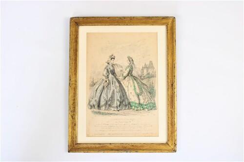 thumbnails bij product Le moniteur de la mode, gravure colorée à la main, 1869