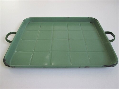 thumbnails bij product old green metal tray