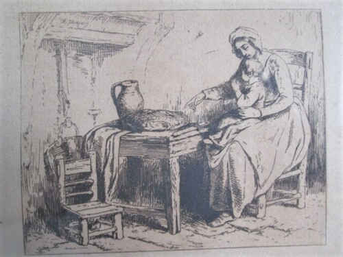 thumbnails bij product etching CH. Jacque: mother and child