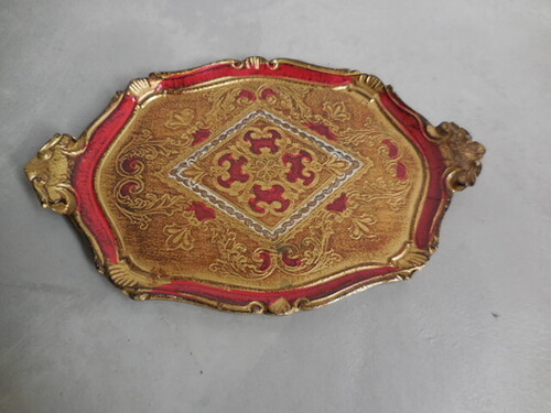 thumbnails bij product Florentine tray in red and gold