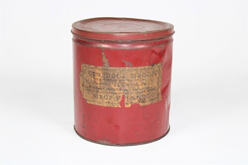 thumbnails bij product old red tin for syrup, Gebr. Lowette