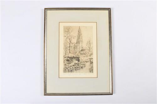 thumbnails bij product Groenplaats + cathedral Antwerp - etching Romain Malfliet