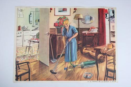 """thumbnails bij product vintage school chart """"Le travail de la maman le matin"""""""