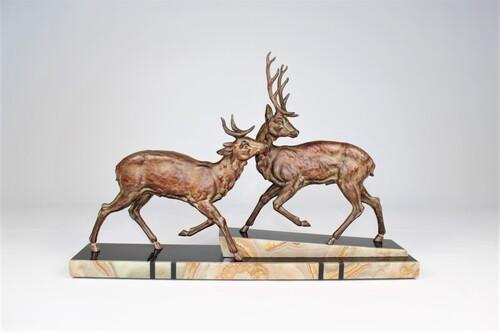 thumbnails bij product statue Art Deco de deux cerfs