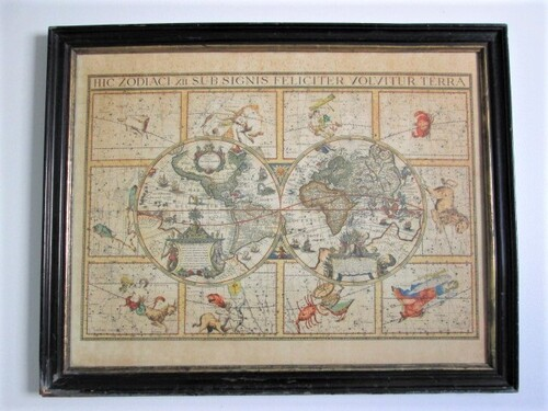 thumbnails bij product map of the world and zodiac +/- 1815