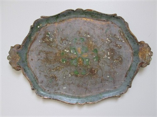 thumbnails bij product Florentine tray in green, gold and grey