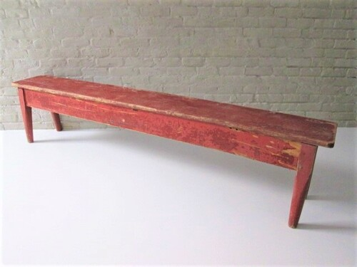 thumbnails bij product old wooden bench, painted red