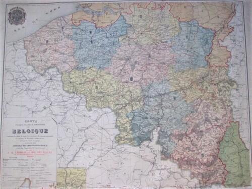 thumbnails bij product oude landkaart België, 1882