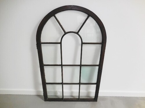 thumbnails bij product antiek houten gebogen raam