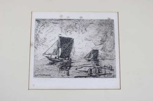 thumbnails bij product etching: boats on Schelde river, John Michaux