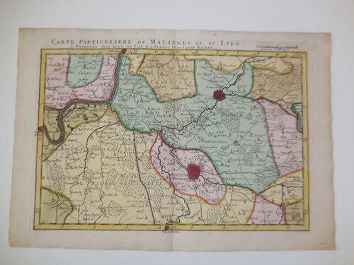 thumbnails bij product carte antique, gravure de Malines, 1740