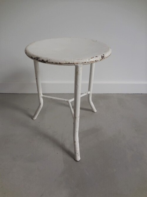 thumbnails bij product white industrial metal stool