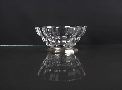 thumbnails bij product Kristallen Art Deco schaal, zilveren voet