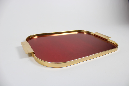 thumbnails bij product Vintage rood-gouden dienblad, Kaymet