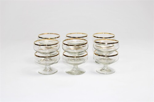 thumbnails bij product 12 dessert coupes with gold rim
