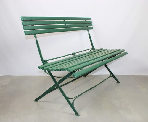 thumbnails bij product old green French wooden bench