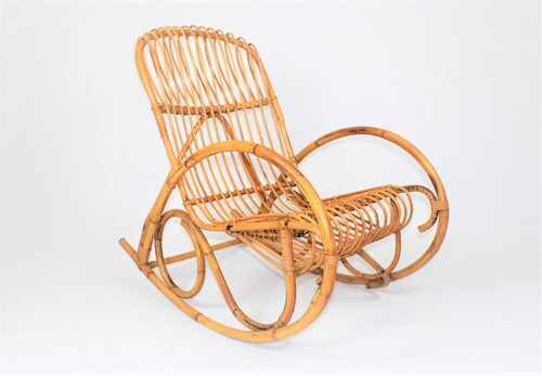 thumbnails bij product vintage rotan rocking chair, Albini style