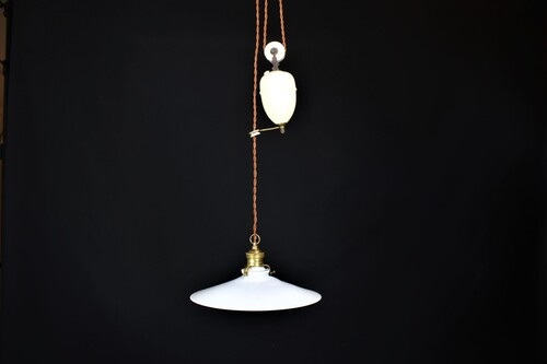 thumbnails bij product Old French lamp with opaline lamp shade