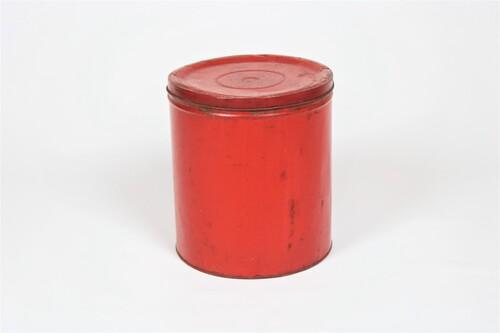 thumbnails bij product oud rood koffieblik
