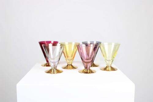 thumbnails bij product een set van 6 iriserende gekleurde vintage glazen
