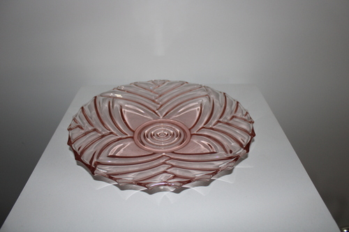 thumbnails bij product old plate in pink glass