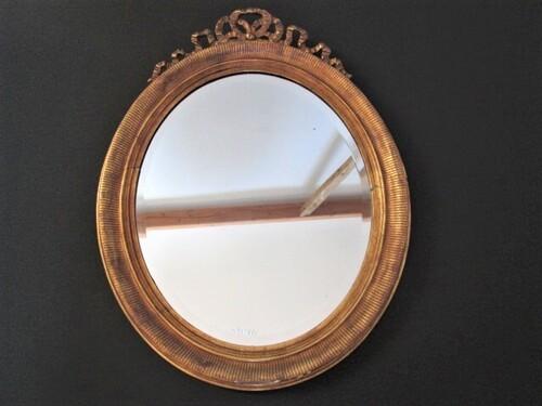thumbnails bij product grand miroir ovale en bois doré