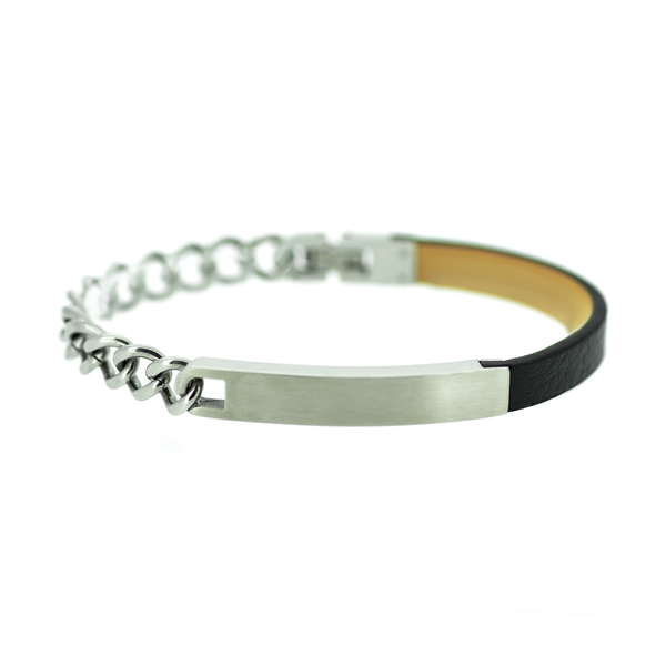 Bracelet - leather and stainless steel
