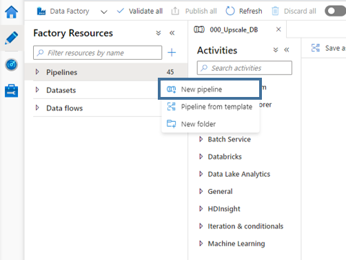 autoscale azure sql db create new pipeline in azure data factory adf
